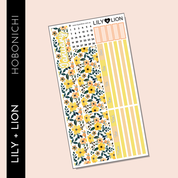 Hobonichi WEEKS Monthly Kit - CHOOSE YOUR MONTH Yellow Blooms