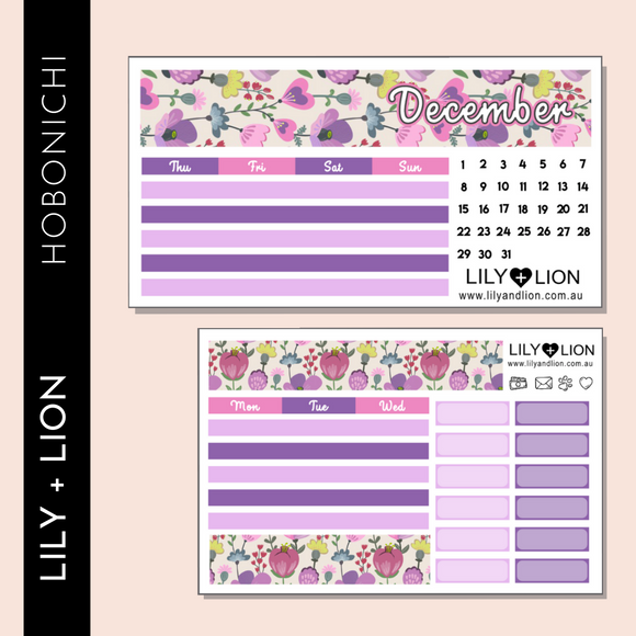 Hobonichi COUSIN Monthly Kit - CHOOSE YOUR MONTH - PETUNIA