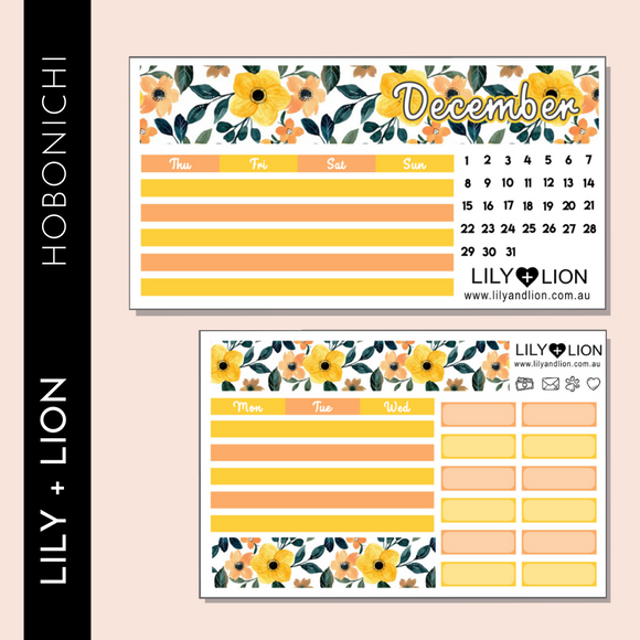 Hobonichi COUSIN Monthly Kit - CHOOSE YOUR MONTH - YELLOW FLOWERS