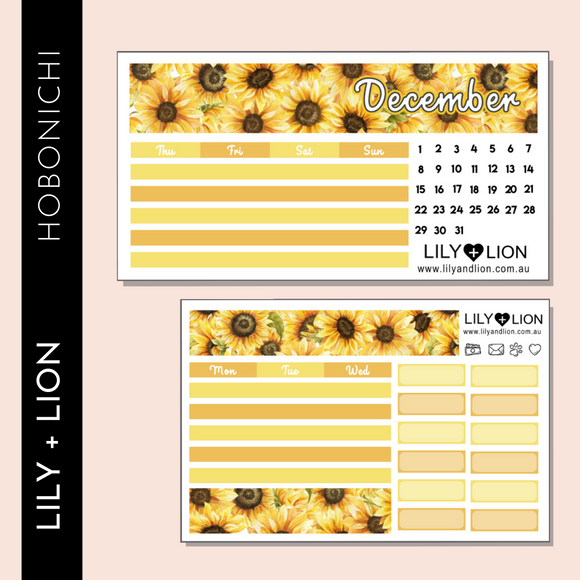 Hobonichi COUSIN Monthly Kit - CHOOSE YOUR MONTH - SUNFLOWER