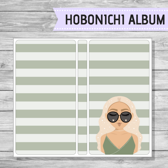 Hobonichi Sticker Album - Green Stripe