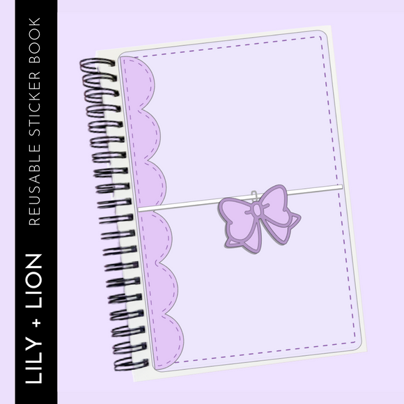 Reusable Sticker Book: PLANER BOW COVER purple