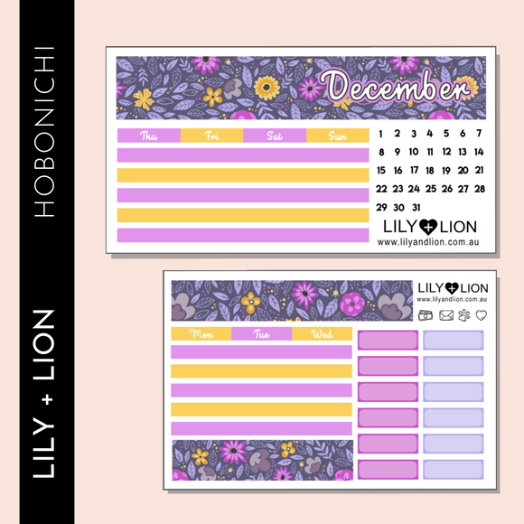 Hobonichi COUSIN Monthly Kit - CHOOSE YOUR MONTH - PURPLE FLOWER