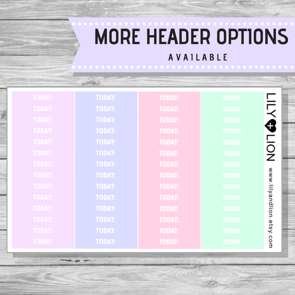 Header Sheet - Pastel (Erin Condren OR Plum Paper)