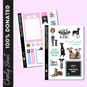 COLLECTOR'S EDITION: GREYHOUND FUNDRAISER SHEET (IWAG & AMAZING GREYS)