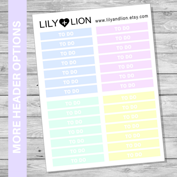 LBD Headers - Pastel  (to suit WEEKLY)