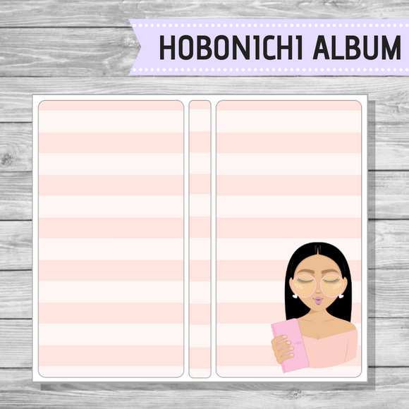 Hobonichi Sticker Album - Pink Stripe