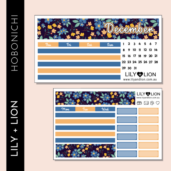 Hobonichi COUSIN Monthly Kit - CHOOSE YOUR MONTH - BLUE BELLS