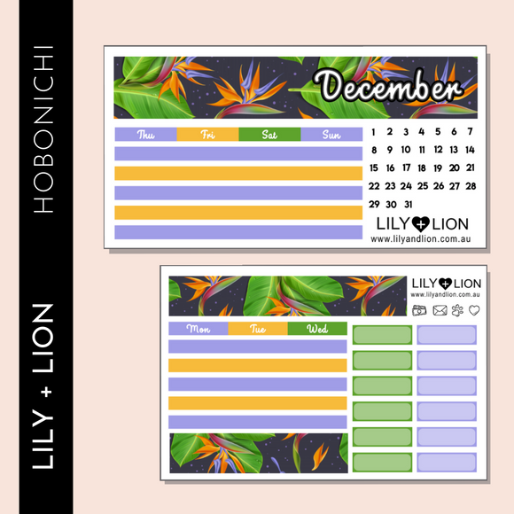 Hobonichi COUSIN Monthly Kit - CHOOSE YOUR MONTH - TROPICAL BIRD OF PARADISE