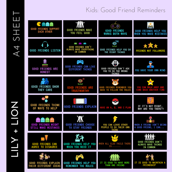 Kids: Good Friend Reminders A4
