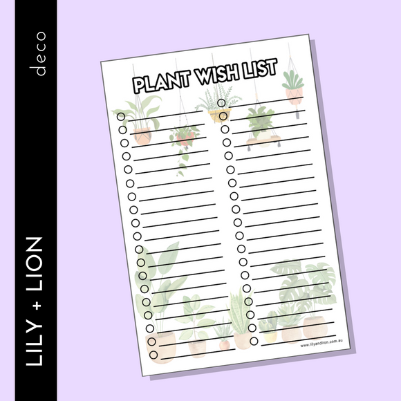 Plant wish List Tracker sheets