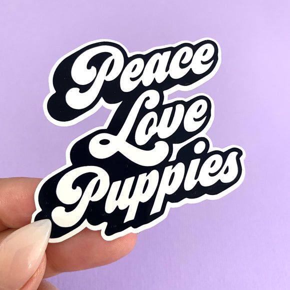 Die cut: PEACE LOVE PUPPIES