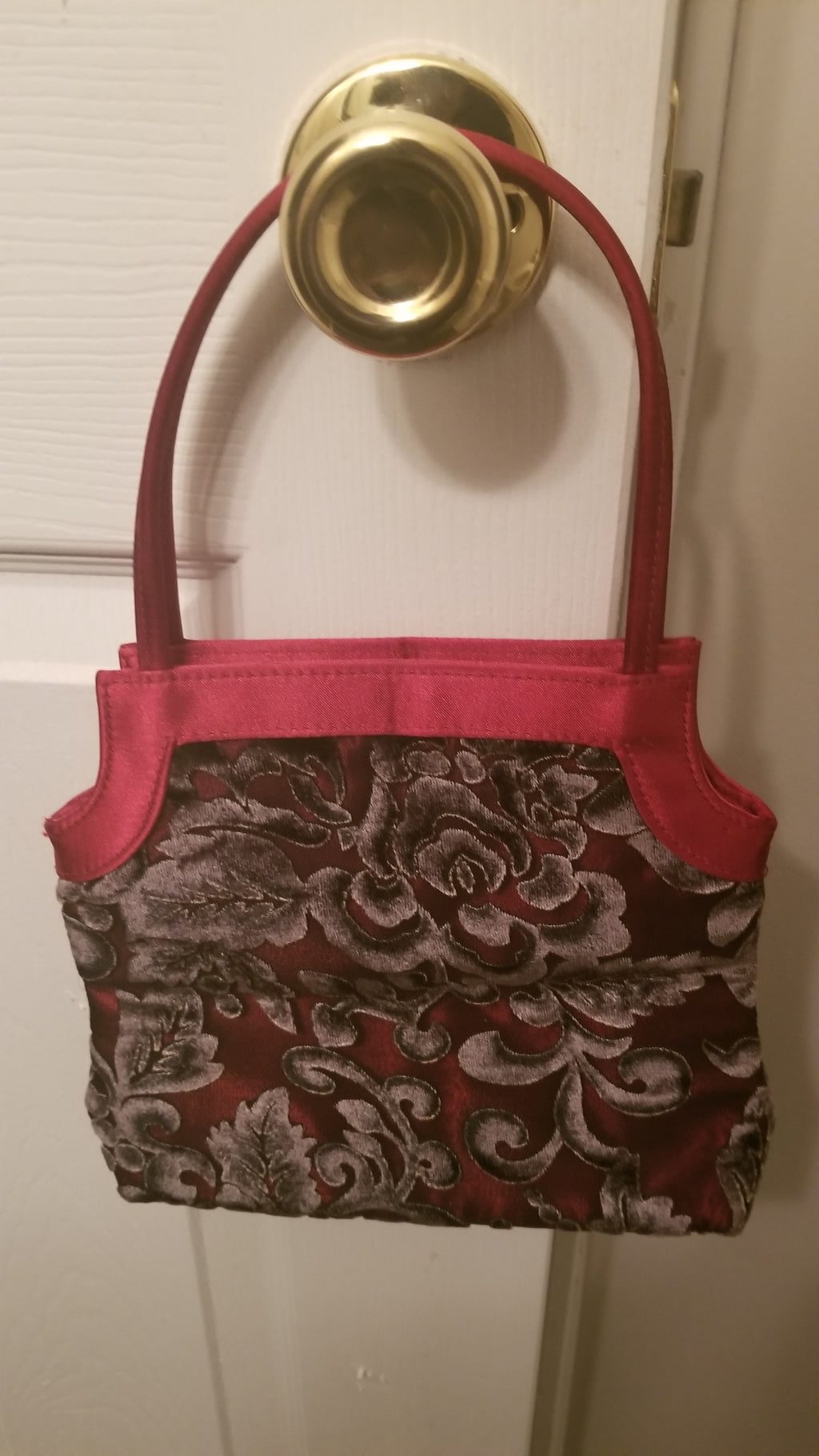 Victoria's Secret floral cut velvet satin evening handbag