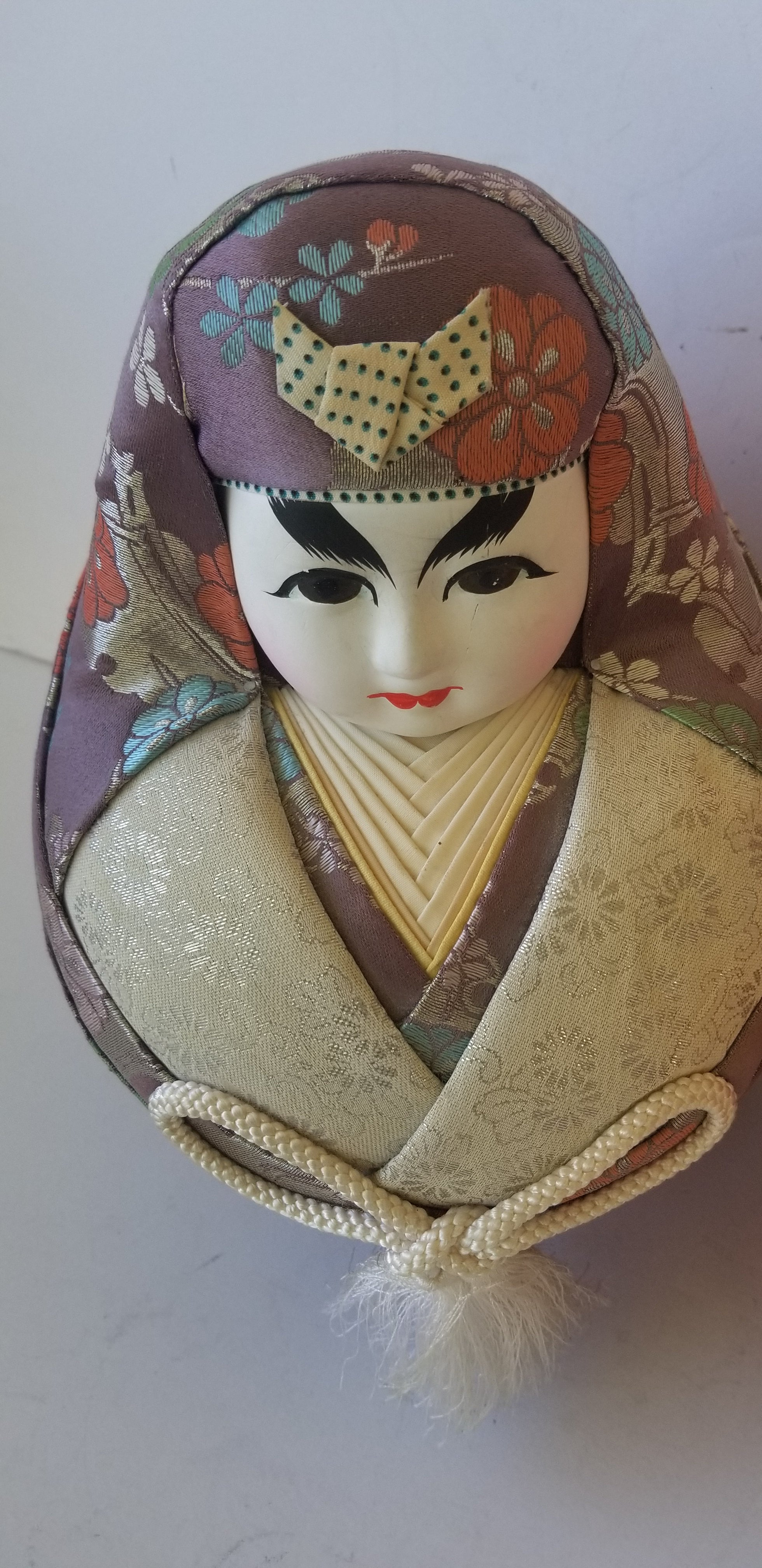 Emperor and Empress silk fabric handmade multicolor ginger jar style dolls