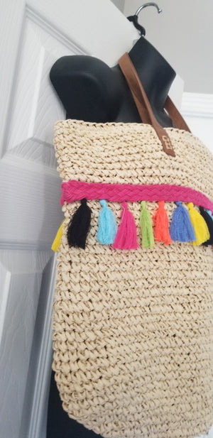 INC. women's handbag straw with multicolor tassels Beach Please extra large. Condition is NWOT