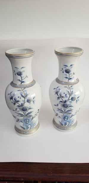 Two blue and white vases baluster porcelain floral lotus gold gilt