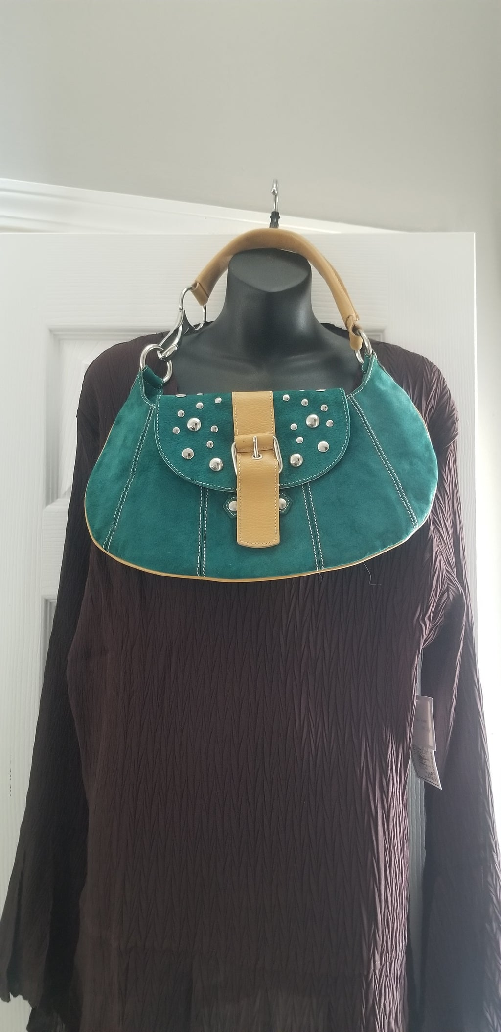 Paravidino women's handbag green suede genuine leather trim hobo