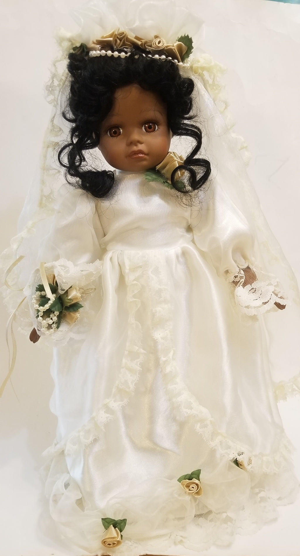 African American Black bride doll porcelain