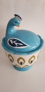 Boston Warehouse Trading cookie jar peacock multi color large