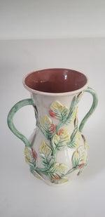 Pottery vase urn multicolor majolica leaves handpainted large and heavy