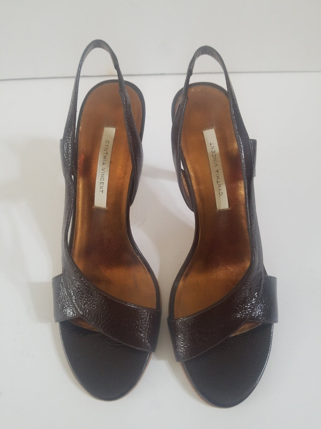 Cynthia Vincent women's sandals brown leather slingback size 9 M