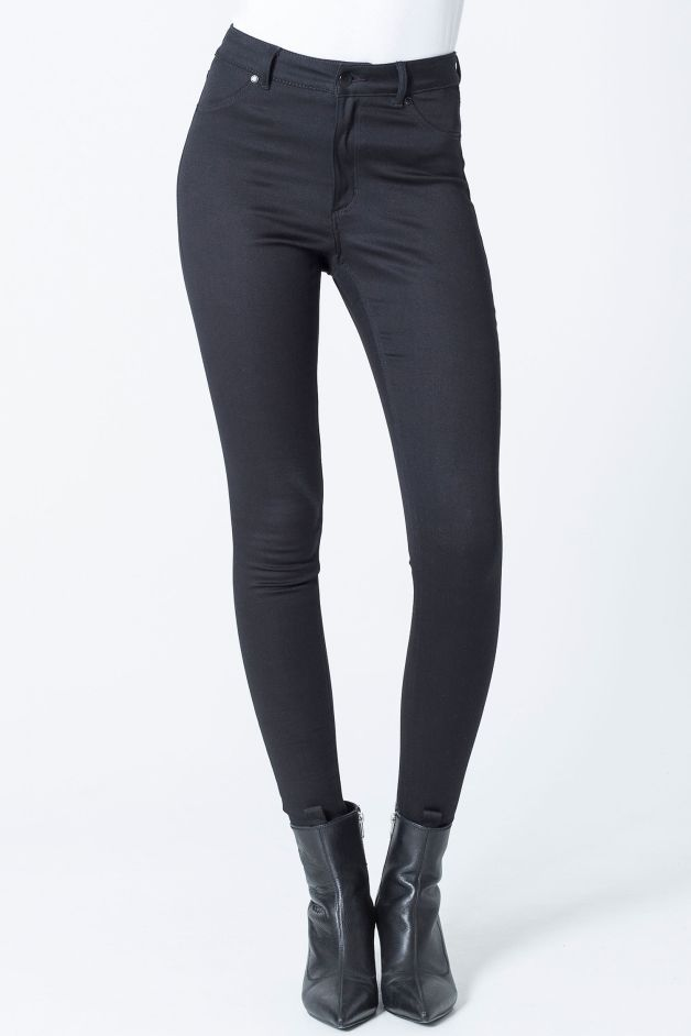 Satin Black High Spray Skinny Jeans