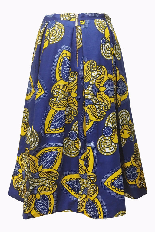 Paisley Print Pleated Midi Skirt