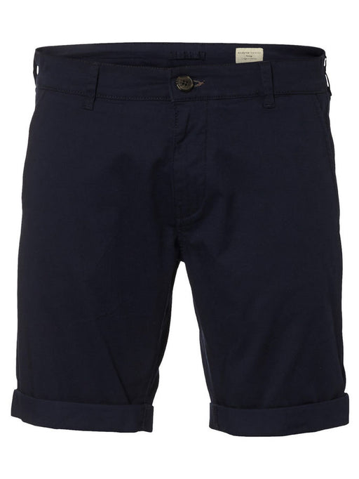 Straight Leg Organic Cotton Chino Shorts in Dark Sapphire