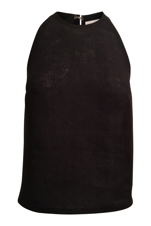 Premium Linen Cutaway Top in Black