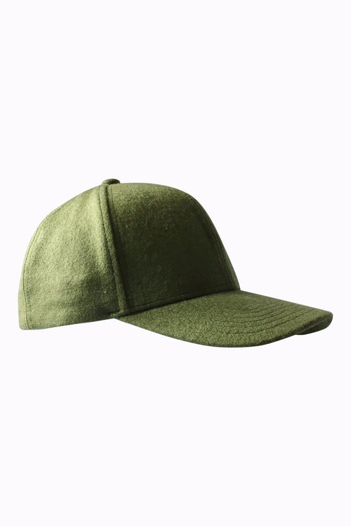 Frederick Pure Wool Baseball Cap in Military Green