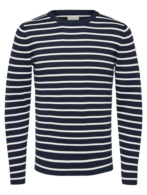 Striped Sailor Crew Neck Organic Jumper in Dark Sapphire