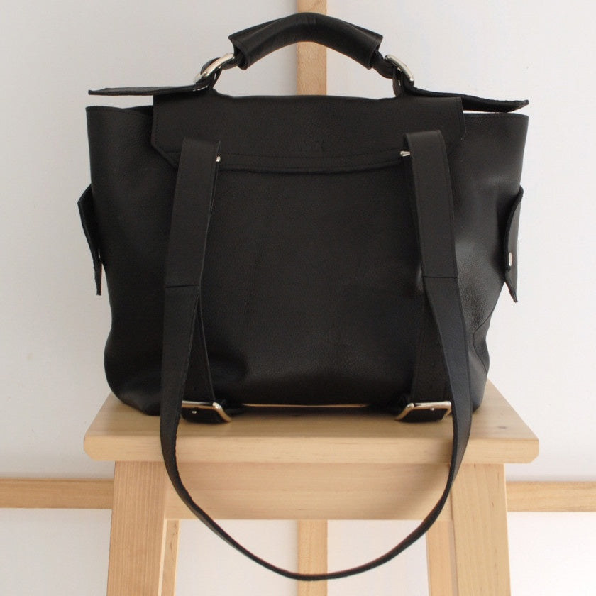Handmade Leather Backpack - Available in Black or Silver