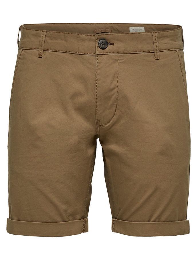 Straight Leg Organic Cotton Chino Shorts in Camel