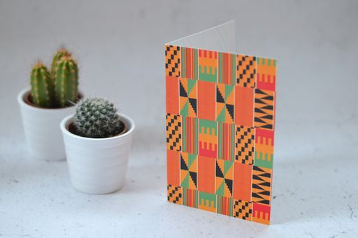 Orange Kente Print Greetings Card
