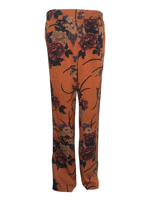 Lina Orange Flower Print Trouser Pants
