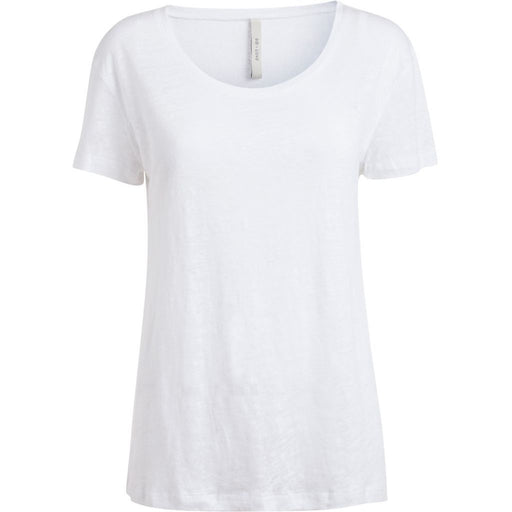 Linen Basic Short Sleeve Tshirt in White