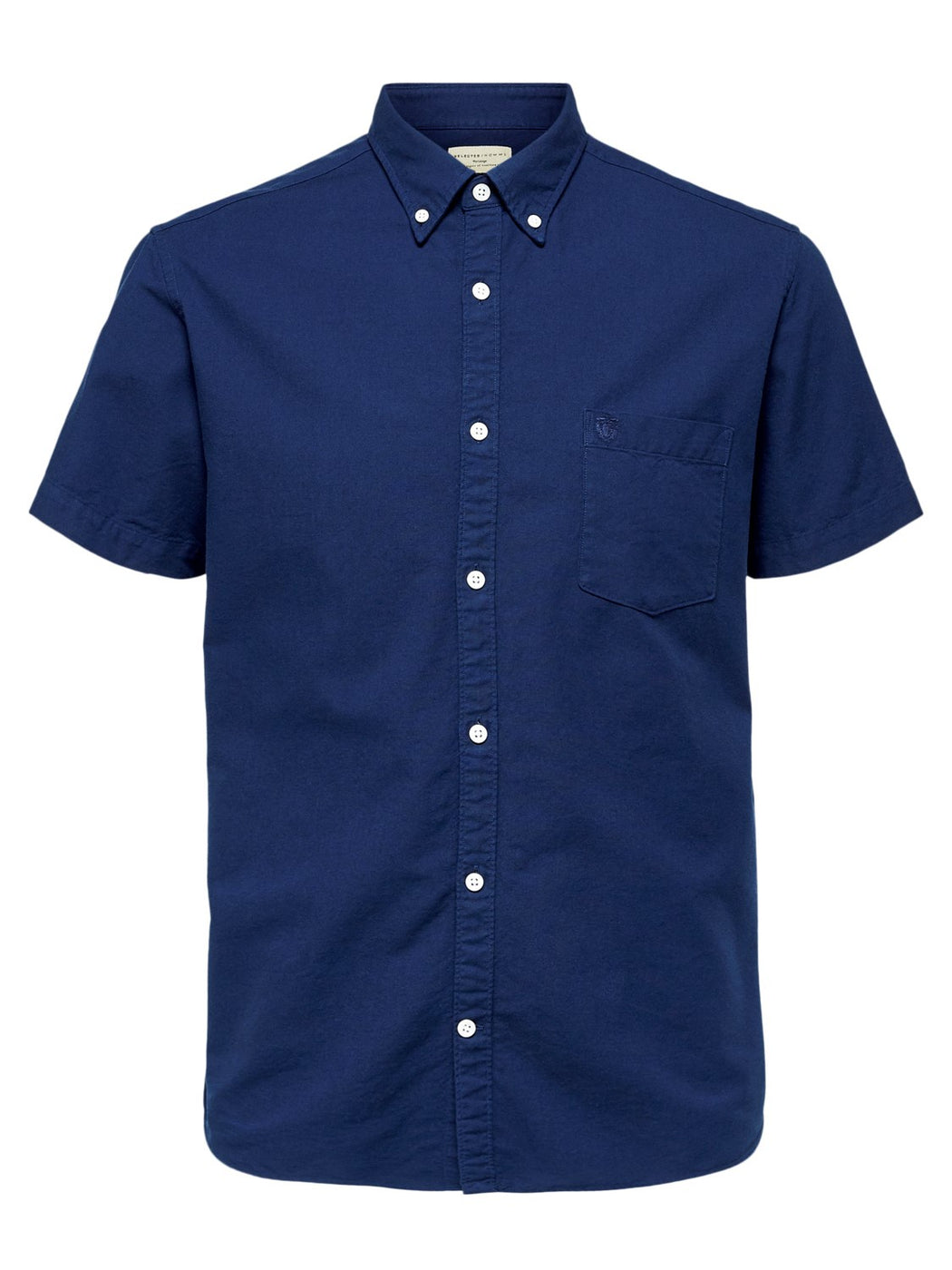 Short Sleeve Collect Oxford Shirt in Dark  Sapphire
