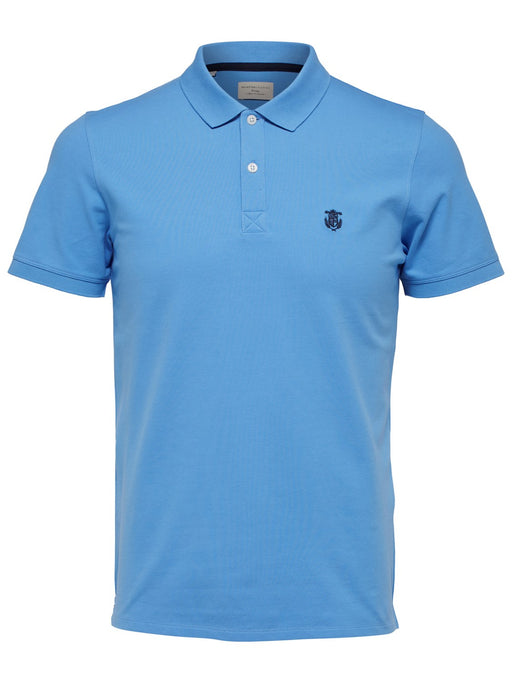 Haro Embroidered Polo Shirt in Azure Blue