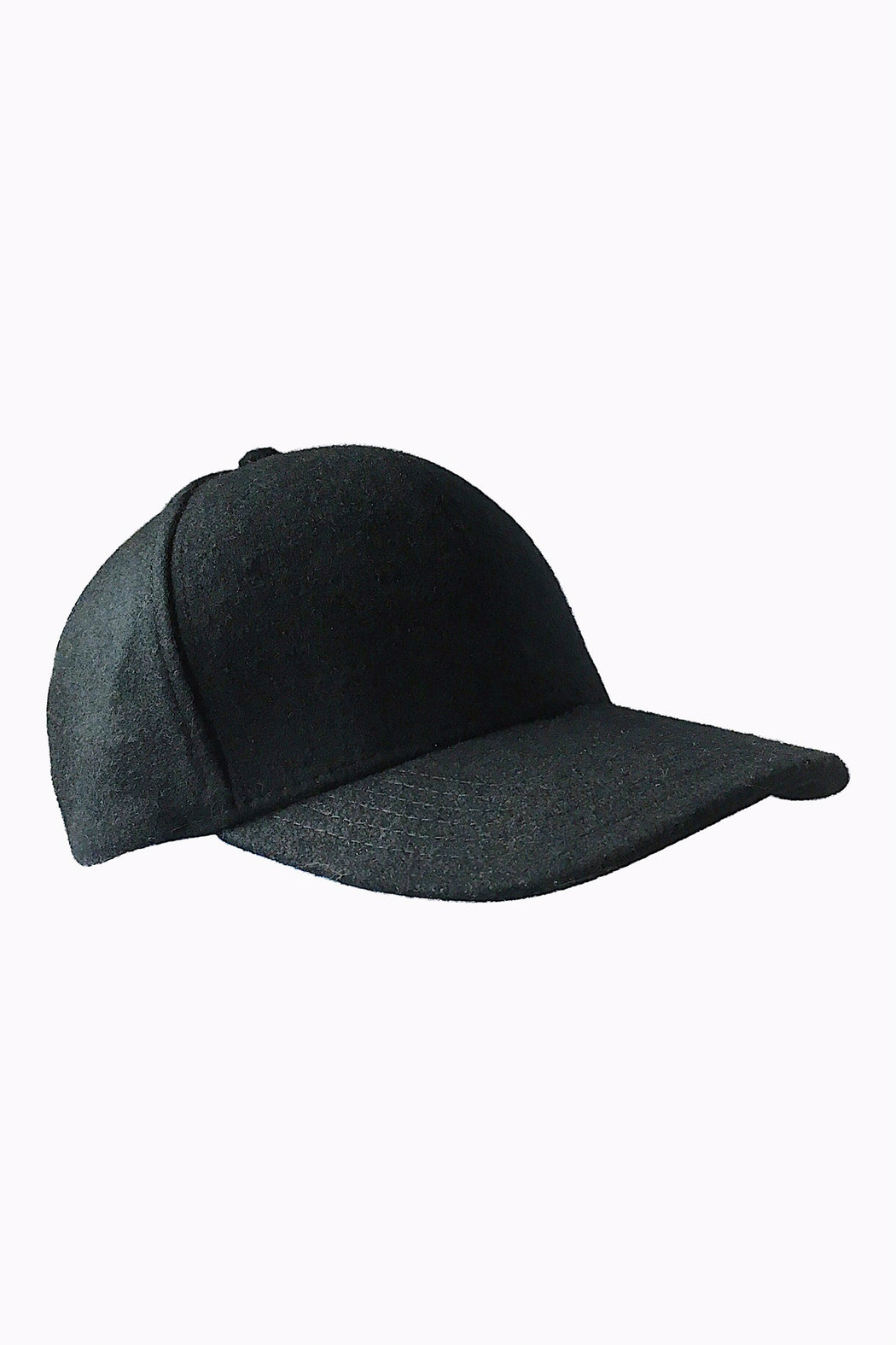 Frederick Pure Wool Baseball Cap in Black