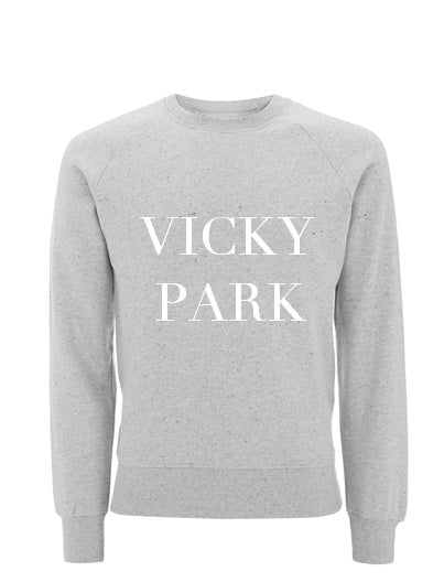 Vicky Park Organic Cotton Slogan Sweatshirt in Grey Marl