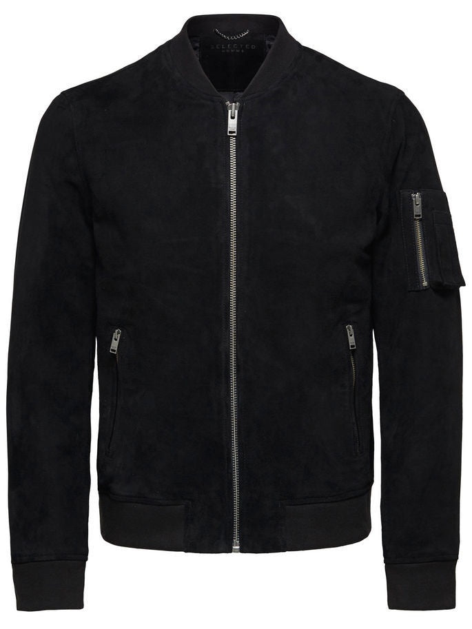 Mick Black Suede Bomber Jacket