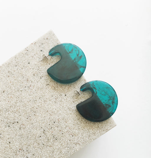 Cecelia Statement Resin Round Studs in Teal