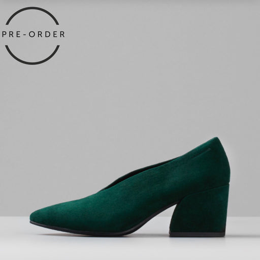 Olivia Suede Pumps In Bottle Green