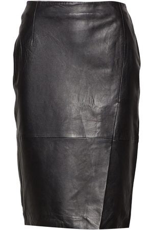 Faria Mid Waist Wrap Leather Pencil Skirt