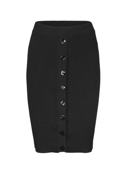 Nap Button Front Black Jersey Tube Skirt