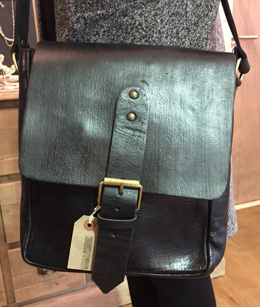 Artisan black Leather Messenger bag