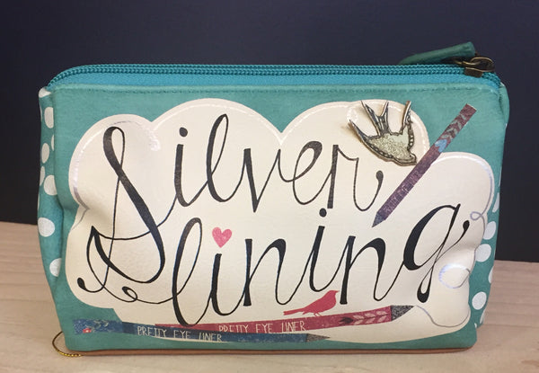 Every cloud has a silver lining make up bag