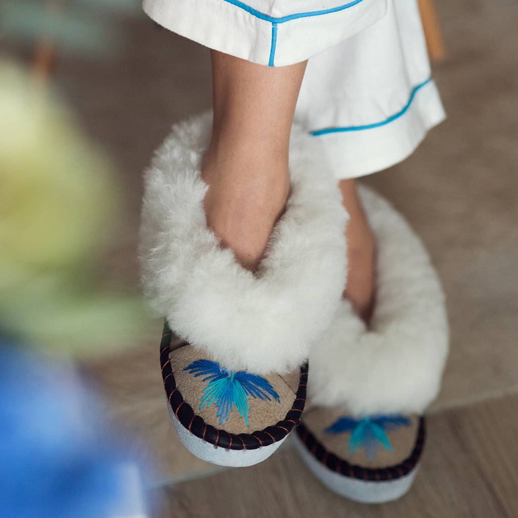 Sheepskin Ladies Slippers Turquoise and Tan