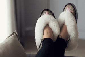 Sheepskin Ladies Slippers Pink and Rose gold