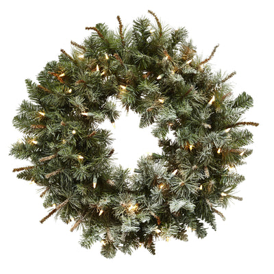"30"" Lighted Frosted Pine Wreath - nextposh"